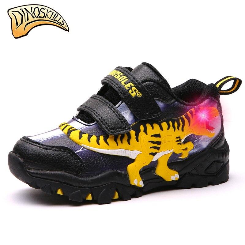 Dinoskulls 2019 Garçons chaussures de sport brillantes Enfants Lumineux de Lumière Up Chaussures Enfants Sport chaussures de course Printemps Automne Dinosaure Chaussures
