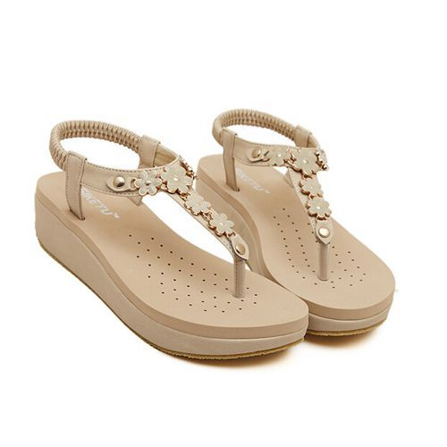 2017 New Designer Wedding Women Las Dress Summer Style Fashion Y Low Heel Platform Wedge Sandals Flip Flops Beige Black In S From Shoes