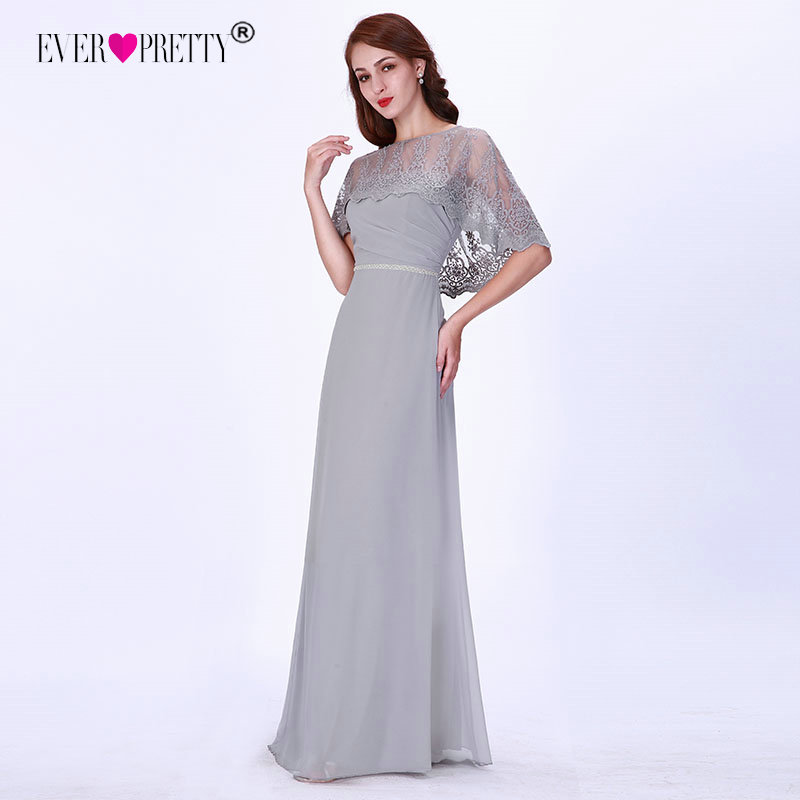 Grey   Evening     Dresses   Long 2019 Ever Pretty EZ07612GY Lace Half Sleeve Chiffon Formal Party   Dresses   Women Elegant   Evening   Gowns