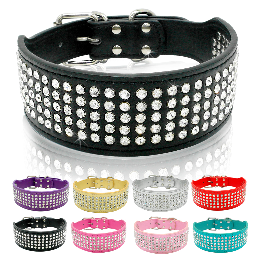 Rhinestone Leather Dog Collars Full Diamante Crystal Studded Dogs Pet Collars 2 tums bred för Medium & Large Dogs Pitbull Boxer
