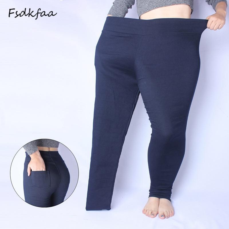 FSDKFAA Women 2018 Spring Basic Pencil Pants Elastic Black White Mid-Waist Over Size Trousers Capris Plus Size XL-5XL