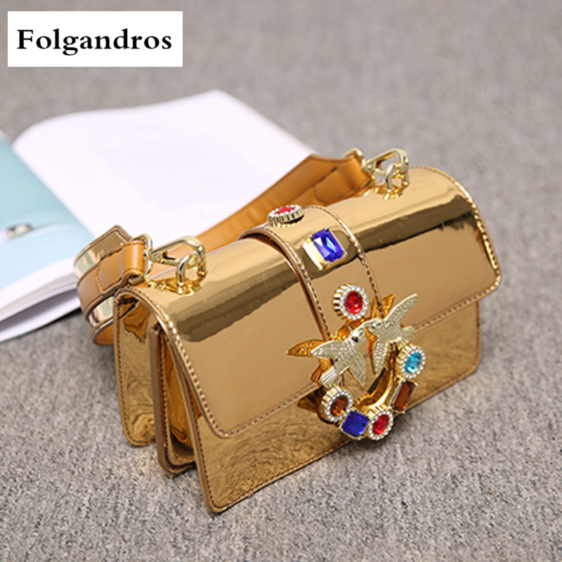 New Luxury Handbags Glossy Patent Leather Women Bags Famous Designer Fashion Diamond Swallows Bags Chain Shoulder Messenger Bags new 2017 women handbags sequery embroidery luxury patent leather famous brand designer shoulder bags women messenger bags