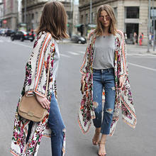 Women Boho Beach Pretty Floral Print Loose Shawl Kimono Cardigan Long Top Femme Hipster tumblr cappa Blouse Plus Size(China)
