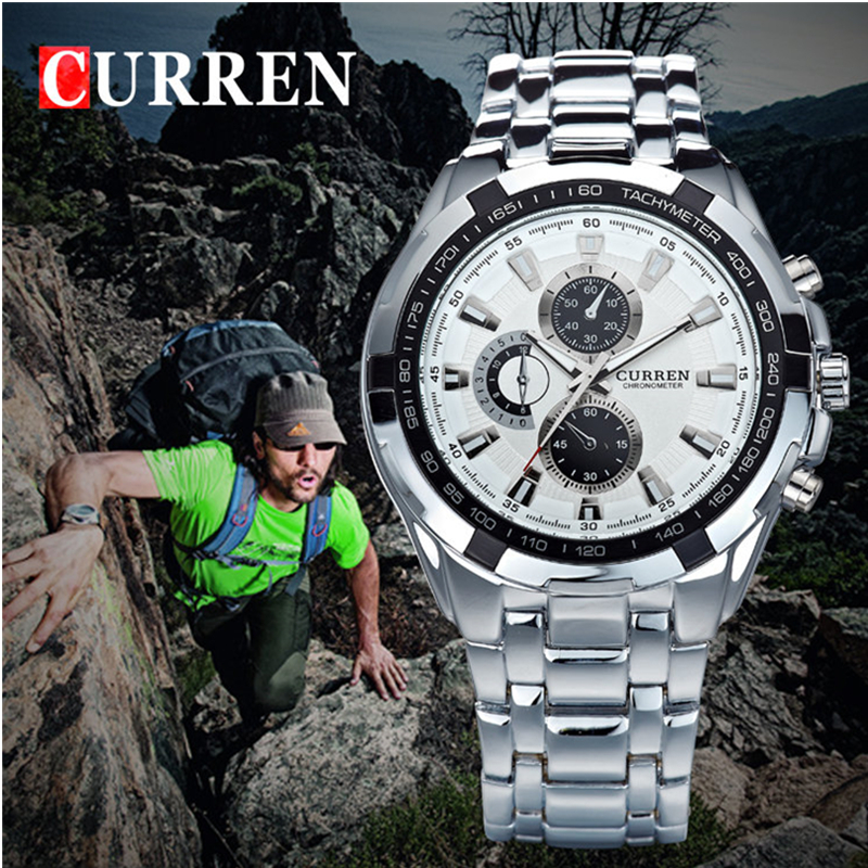 CURREN Quartz Watches Alloy 8023 Military Analog Male Top-Brand Waterproof Sports Relogio Masculino