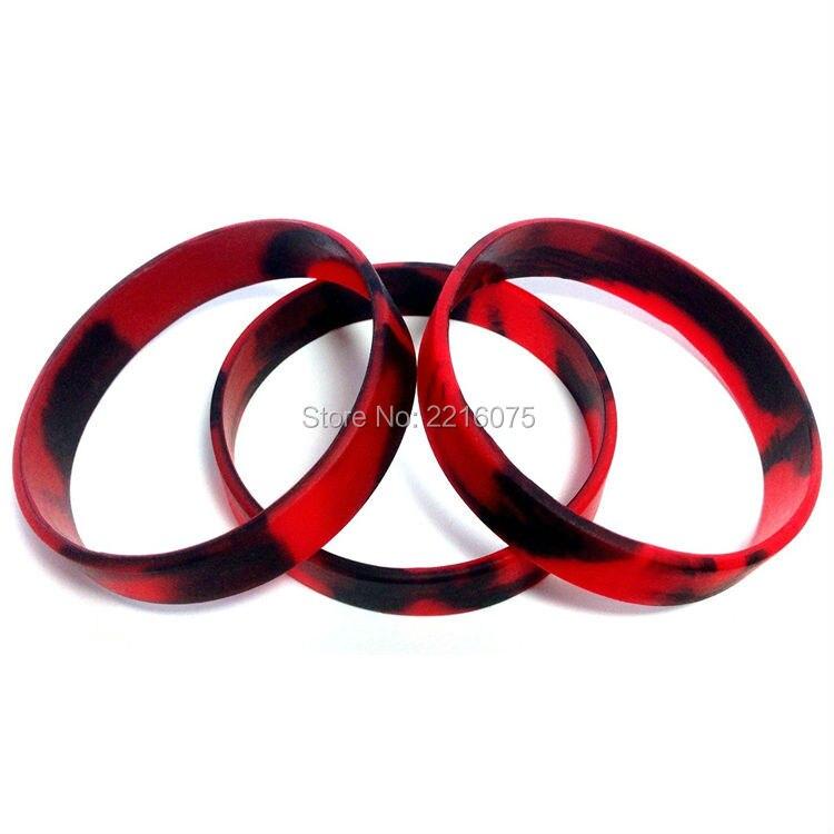 100 Pz Red & Black Swirl Wristband Del Silicone Braccialetti Di Gomma Spedizione Gratuita Valore Eccezionale