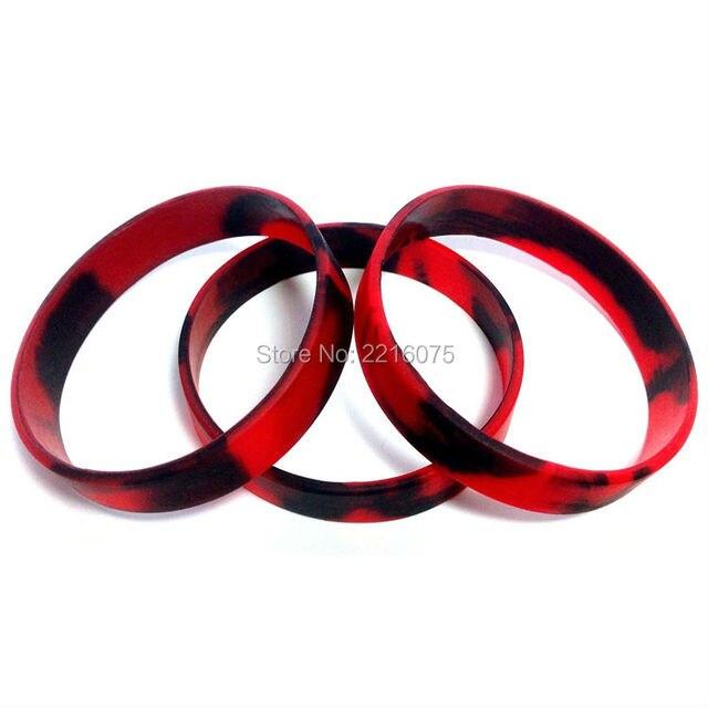 100pcs Red Black Swirl Silicone Wristband Rubber Bracelets Free Shipping