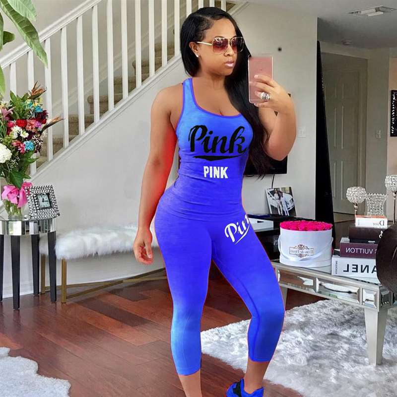 2020 Women PINK Letter Print 2pcs New Summer Tracksuit Sexy Tank Top And Multicolor Skinny Pants 2 Pieces Sets Outfits Plus Size