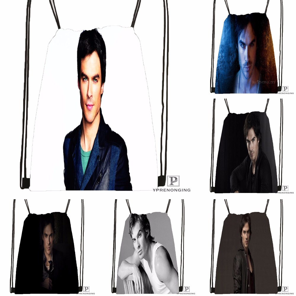 Custom Ian Somerhalder Drawstring Backpack Bag Cute Daypack Kids Satchel (Black Back) 31x40cm#180531-03-47
