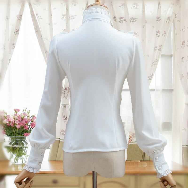 Image 2 - Vintage Women's Lolita Shirt Gothic Chiffon Ruffle Blouse Long Sleeve Blusas Black/White/Navy Blue/Burgundy-in Blouses & Shirts from Women's Clothing