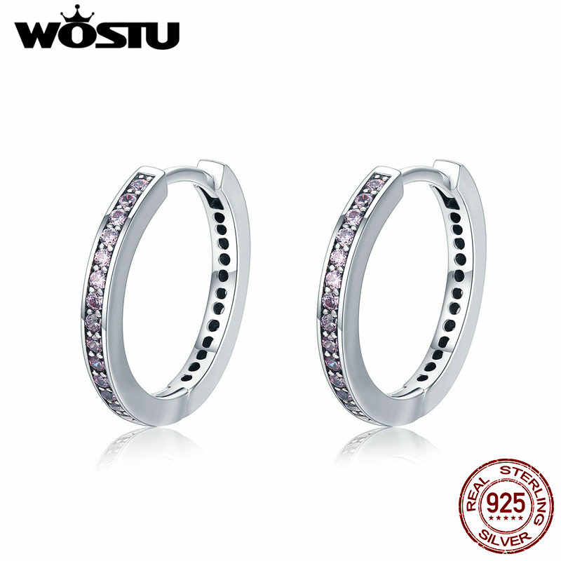 WOSTU HOT SALE 100% 925 Sterling Silver 4 Colors Simple Gold Color Clear CZ Female Stud Earrings for Women Fashion Jewelry Gift
