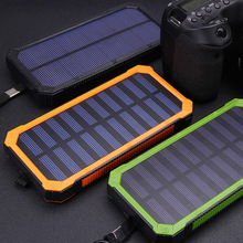 HOT Waterproof 15000MAH Solar Power External Power Bank With LED Light For Mobile Phones with Cable Quick solar powerbank