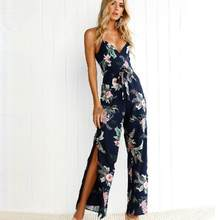 275d7d8a45 Summer Elegant Women Sexy Printed Tunic V-neck Lace-up Off shoulder  Backless Loose Casual Side Slit Long Pants Sun-top Jumpsuit