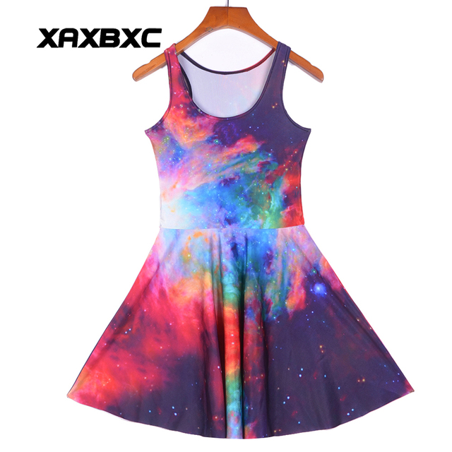 b2756c53a8315 US $12.0 |NEW Arrial 1247 Sexy Girl Women Summer Colorful Galaxy Rainbow  nebula Star 3D Prints Reversible Sleeveless Skater Pleated Dress-in Dresses  ...