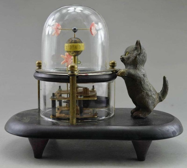 Travail manuel décoré à collectionner cuivre sculpté poisson chat horloge de Table mécanique livraison gratuite