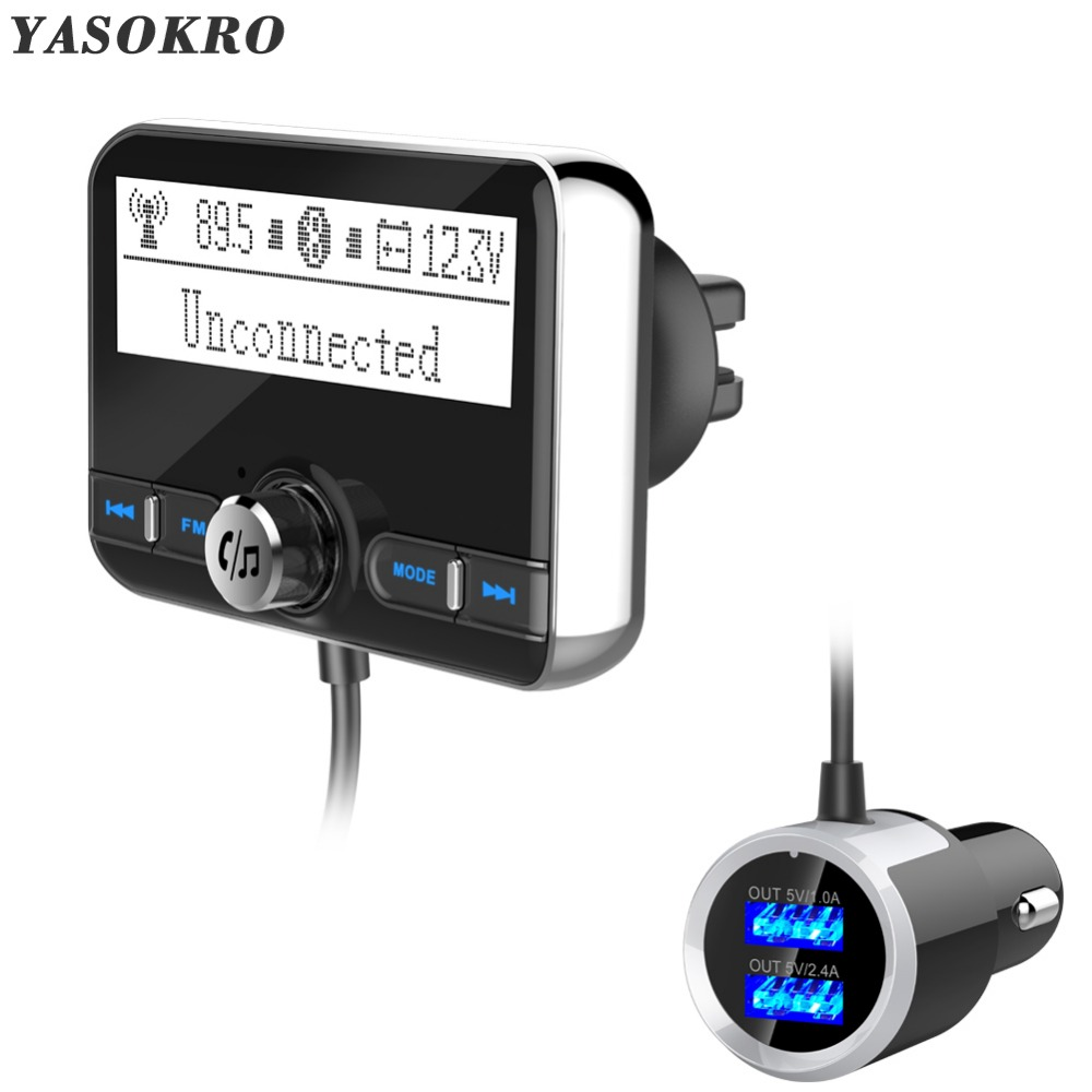 YASOKRO Bluetooth FM Transmitter Wireless Car FM Modulator Mp3 Player Car Kit Handsfree Bluetooth Car Charger with LCD Display image