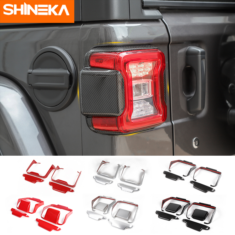 SHINEKA Lamp Hoods ABS Car Taillight decorative frame Cover Stickers For Jeep Wrangler JL 2018+ Advanced Car Styling Accessories