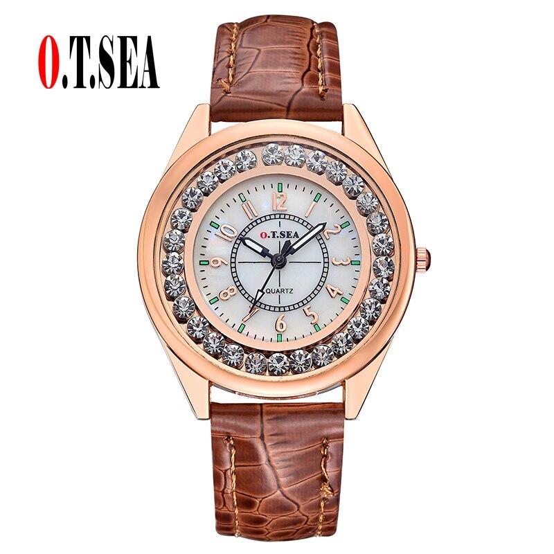16dde9373ca De lujo O. T. SEA marca reloj de cuero de las señoras Rhinestone de cuarzo  reloj relogios feminino OTS039