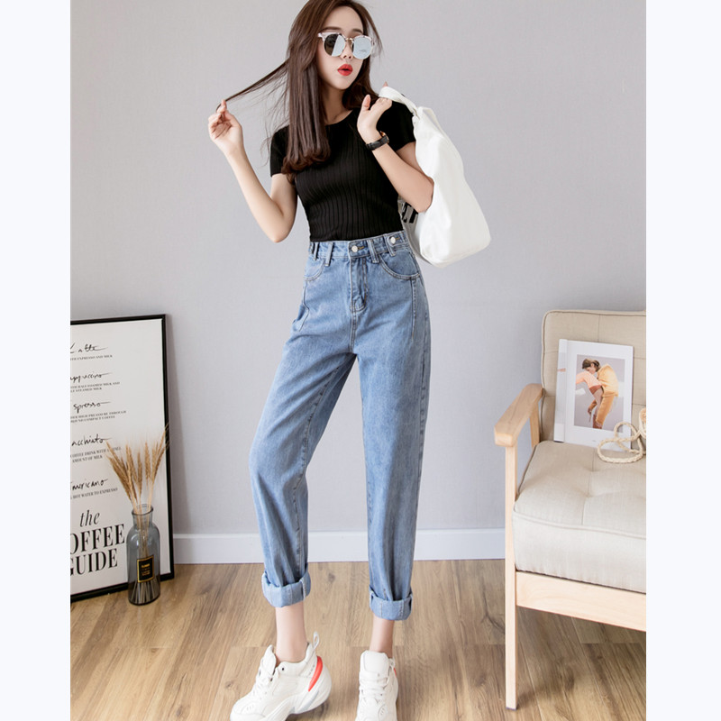 JUJULAND woman denim harem pants full length High waiste jeans Casual classic jeans 2019 summer ladies pants 9910 in Jeans from Women 39 s Clothing