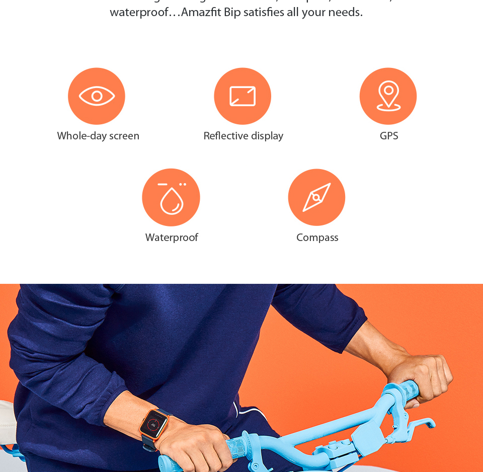 Huami Amazfit Bip Smart Watch With Reflection Color Screen IP68 Waterproof Technology And GPS for Android & iOS 6