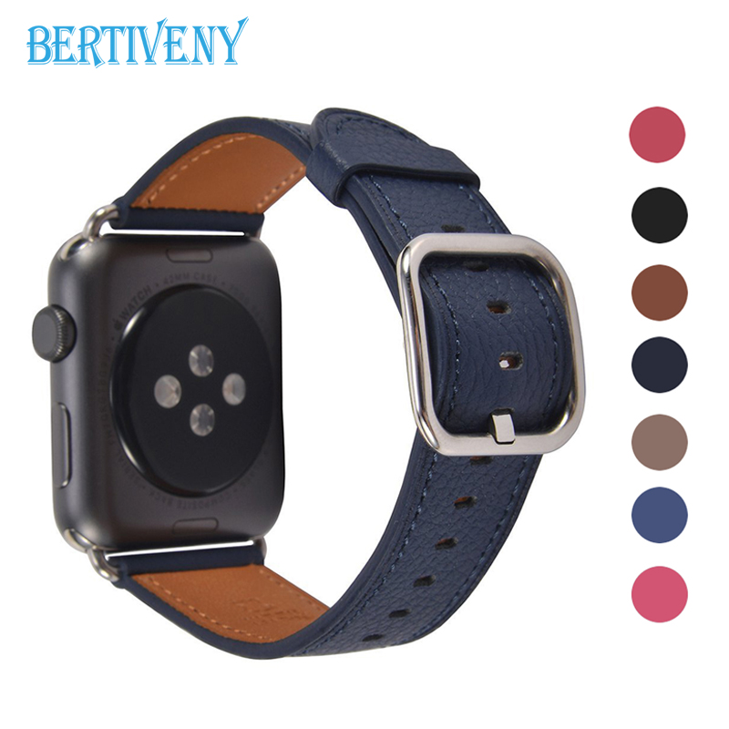 Genuine Leather Bracelet Strap for Apple Watch band 42mm 38mm 44mm 40mm with Square Buckle Wristband for iwtach series 4 3 2 1 hot genuine leather watch band for apple watch 38mm 40mm 42mm 44mm slim replacement wristband sport watch strap series 4 3 2 1
