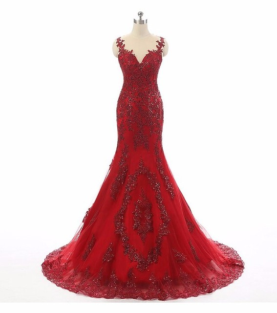 5eb2d70100 Sexy Spaghetti Strap Tulle Mermaid Prom Dresses 2018 With Lace Beaded Long Red  Evening dress Court Train Backless prom Gown