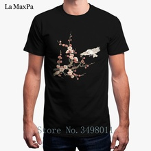 8e767297ad5 Printing Peach Blossoms And Bird T-Shirt For Men Summer Cotton Tee Shirt  Clothing Plus Size 3xl Men s T Shirt Short Sleeves