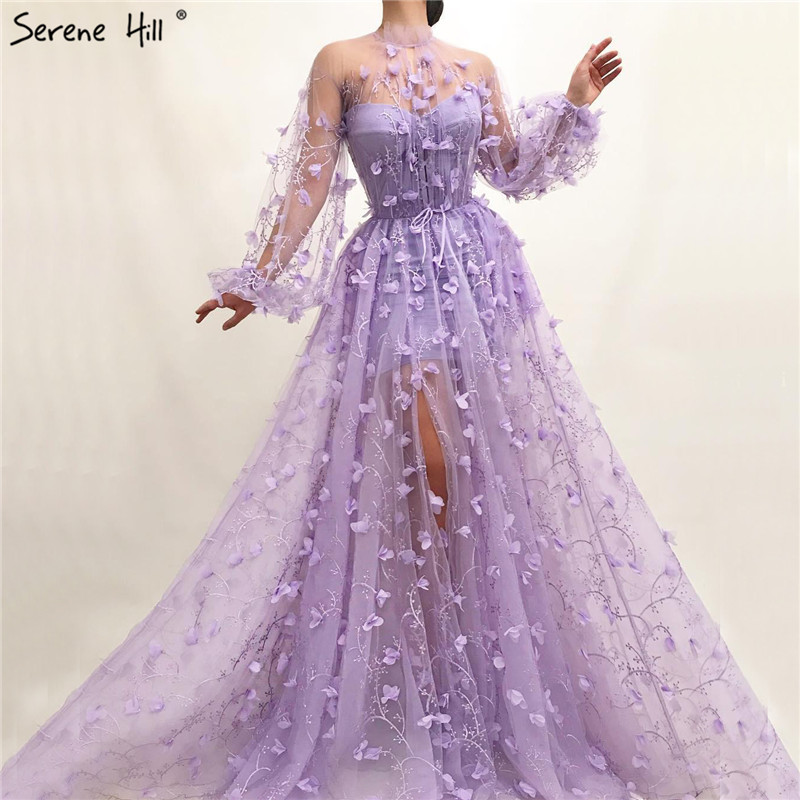 Purple Perspective Sexy Long Sleeve Evening Dresses High Neck Handmade Flowers Evening Gowns 2019 Serene Hill LA60950