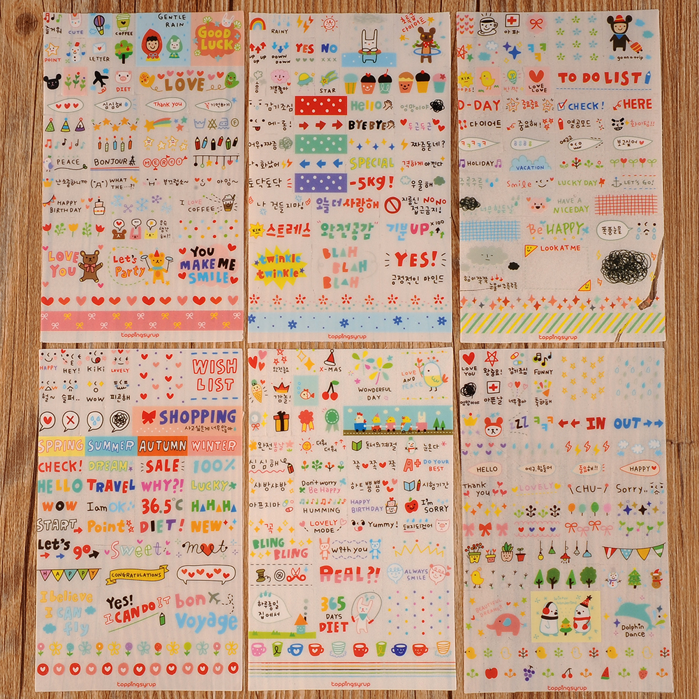New cute lovely 6 sheet paper stickers for diary scrapbook book wall decor for decoration cartoon stickers