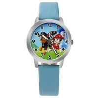 Мода 2017 г. детей часы для мальчика кожаный ремешок наручные Студент Повседневное кварцевые часы для мальчика. малыш Прекрасный мультфильм часы Cloc