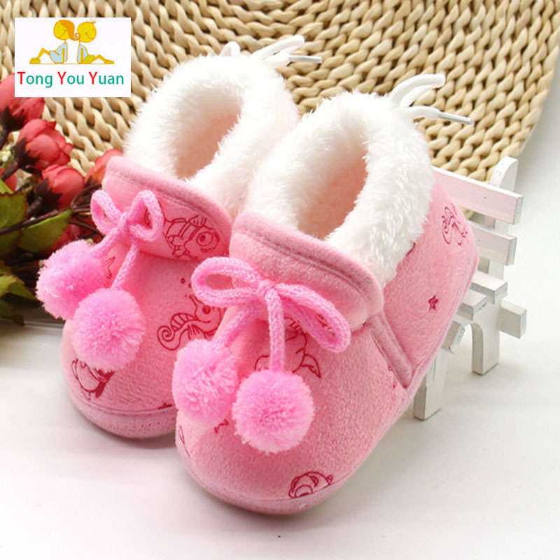 Pink blue yellow cute plus cashmere bow toddler slippers Mianxie ball warm cotton wool bed shoes for newborn baby boy girl xz19 ...