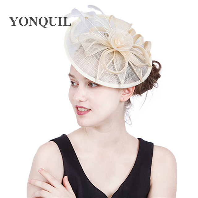 771570c659e Nice Fascinator Hats Fancy Feather Veil Women Sinamay Hat for Kentucky  Derby Wedding Party Cocktail Occasion Headband Mom s Gift