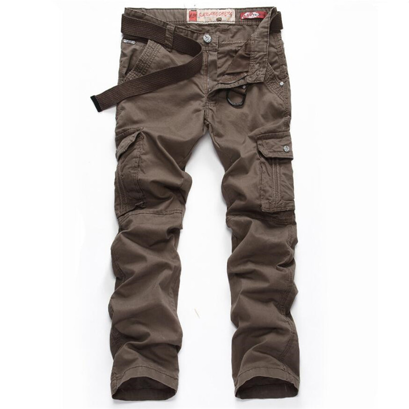 ABOORUN Pure Cotton Cargo Pants Classic Military Style Casual Multi pockets Pants for Men P5050