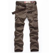 ABOORUN Pure Cotton Cargo Pants Classic Military Style Casual Multi-pockets Pants for Men P5050