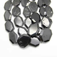 15.5 inches per Strand Natural Black Tourmaline Faceted Cut Octangle Slab Beads Jewelry Supplier