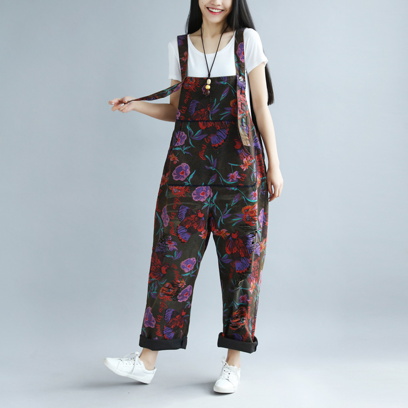 New Jumpsuits Rompers  spring and summer printing old big pants female large yard hole rural wind bib-in Jumpsuits from Women's Clothing    1
