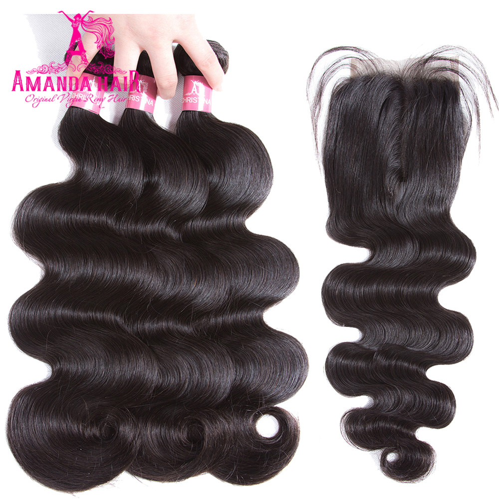 Brazilian Hair Weave With Closure 4X4 Remy Body Wave Human Hair Bundles With Closure With 3 bundles Hair Extensions For Women