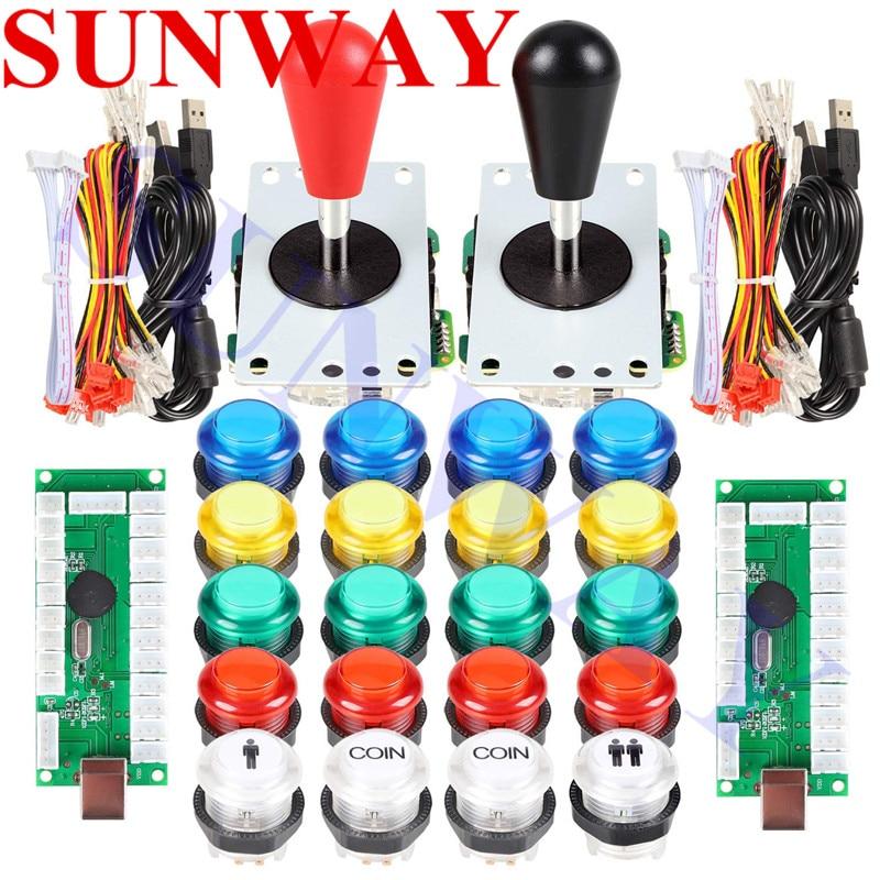 20 LED Arcade Buttons 2 Player Classic Arcade DIY Parts USB Encoder Joystick