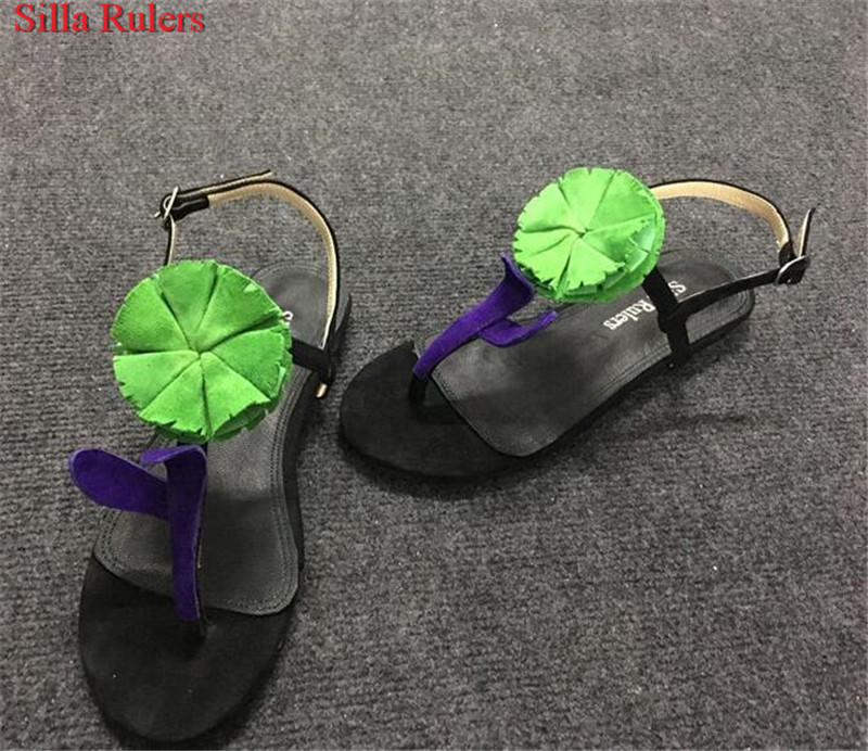 Big Flower Gladiator Sandals Women Summer Shoes Woman Buckle Strap Suede Flat Women Sandals Casual Shoes Flip Flops Sandalias hee grand women gladiator sandals simple flat with buckle flip fflops woman summer casual shoes xwz3789
