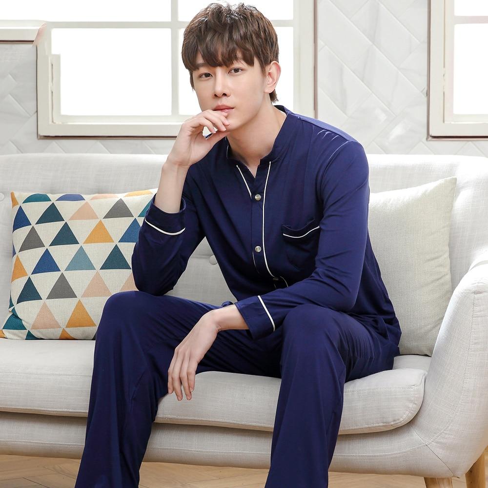 Men Pajamas Set Casual Home Clothing Winter Long Sleeve Bamboo Fiber Men's Sleepwear Pyjamas Homme Nightclothes Autumn