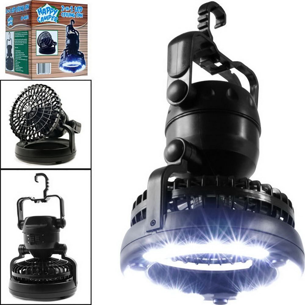 2 In 1 Portable LED Camping Lantern With  18 LED Flashlight Ceiling Fan For Outdoor Hiking Fishing Outages And Emergencies Tent
