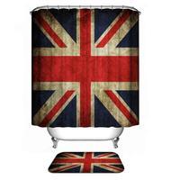 72 X 72 United Kindom Flag Shower Curtain Vintage Pattern Waterproof Anti Mold Material Textile Bathroom