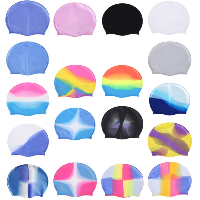 2017 Hot Multi-Color Adult Silicone Swimming Cap Particles Anti-Static Hair Protect Hair Sports Swim Pool Stretchable Hats New hot men women summer lycra swimming caps anti uv sunscreen nylon mask facekini head ear long hair protection diving hats i