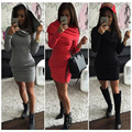 2016 Autumn And Winter  Women's Hooded Dresses  Tri-color Satellite Bundles Hip warm Long Sleeve Dress Pencil TY0060