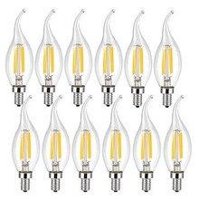 10pcs LED נימה הנורה E14 4W/6W AC220V זכוכית פגז 360 תואר C35 אדיסון רטרו נר אור חם/קר לבן משלוח חינם