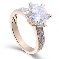 Transgems 14k Yellow Gold 3 carat Diameter 9mm F Color moissanite Engagement Ring For Women Solitare with accents