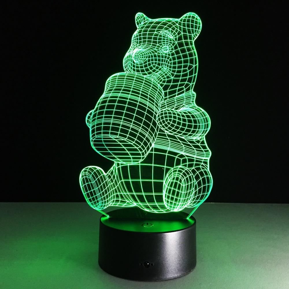 3D визуальный Светодиодные ночники мультфильм животных Медведь для малыша выключатель света USB Зарядное устройство Настольные лампы как кр...