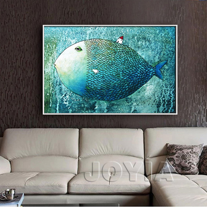 Nordic minimalist fish wall picture children room for Large bedroom paintings