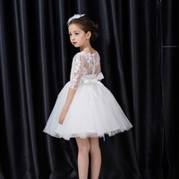 Back Hollow Embroidery Half Sleeve White Christening Cotton Princess Girl Ball Gown Korean Wedding Party Formal