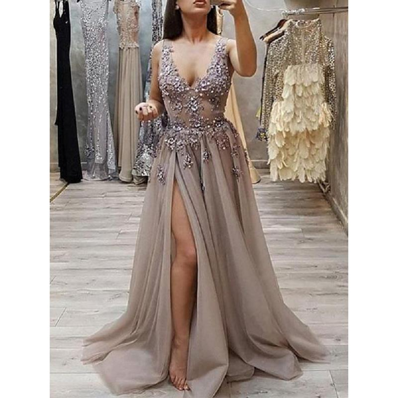 Modest Deep V Neck   Prom     Dresses   Long 2019 vestidos de fiesta largos elegantes de gala Side Split A Line Formal Evening Gowns