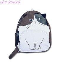Six senses кот женская мода рюкзаки новый стиль случайные школьные сумки холст милый Забавный печати Корея девушки рюкзак, LB2459